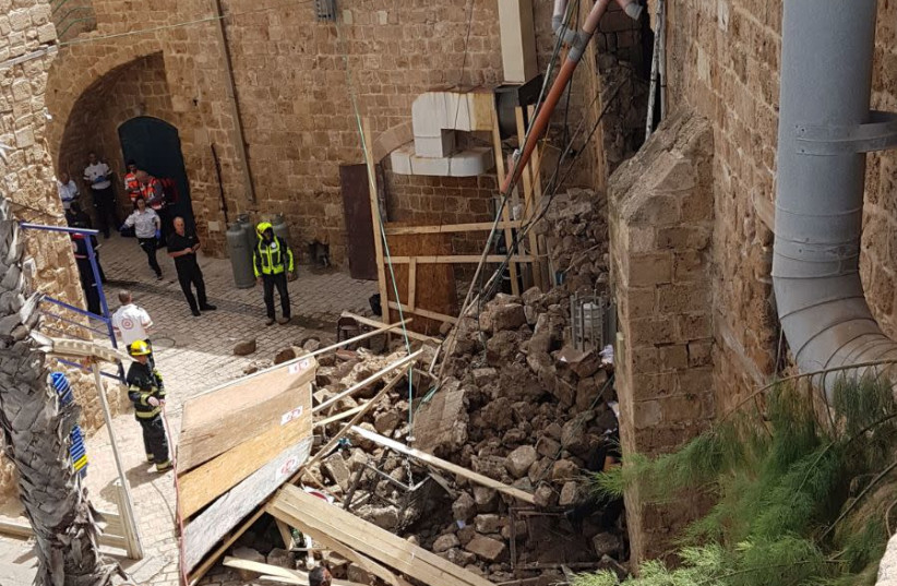 The section of the walls around old Acre that collapsed (photo credit: FIRE AND RESCUE AUTHORITY NORTHERN DIVISION)