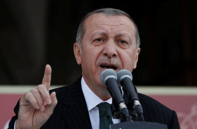 Turkish President Tayyip Erdogan makes a speech during a ceremony in Istanbul, Turkey May 4, 2018 (photo credit: REUTERS/MURAD SEZER)