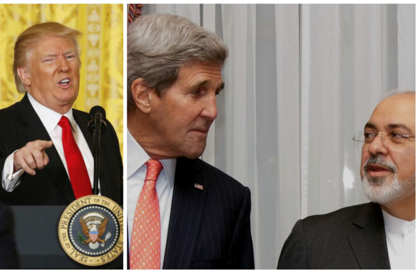 Compilation photo showing US President Donald Trump and then US Secretary of State John Kerry meeting with Iranian Foreign Minister Mohammad Zarif (photo credit: REUTERS)