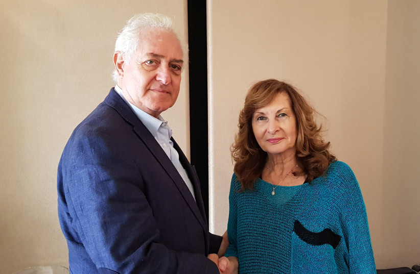 Yaffa Israeli, chairwoman and founder of The Ronen Foundation and ambassador Yitzhak Eldan, president of The Ambassadors' Club of Israel (photo credit: DVORA SZERER)