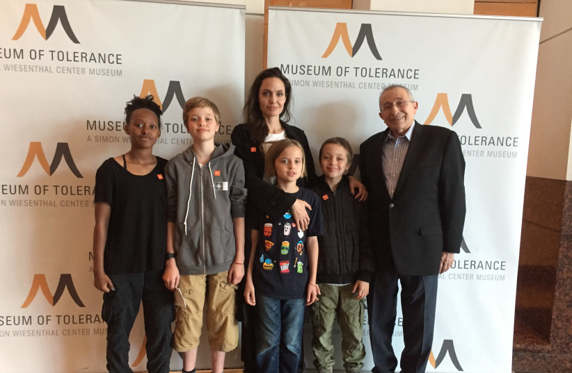 Angelina Jolie with children at the Museum of Tolerance  (photo credit: SWC)