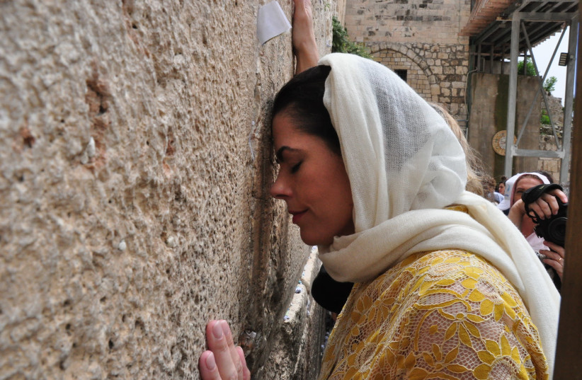 New York Republican senatorial candidate Chele Farley at the Western Wall (photo credit: COURTESY CHELE FARLEY FOR SENATE)