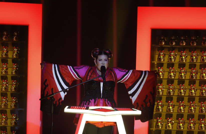"""Israel's Netta performs """"Toy"""" during the Semi-Final 1 for Eurovision Song Contest 2018 in Lisbon (photo credit: PEDRO NUNES/REUTERS)"""