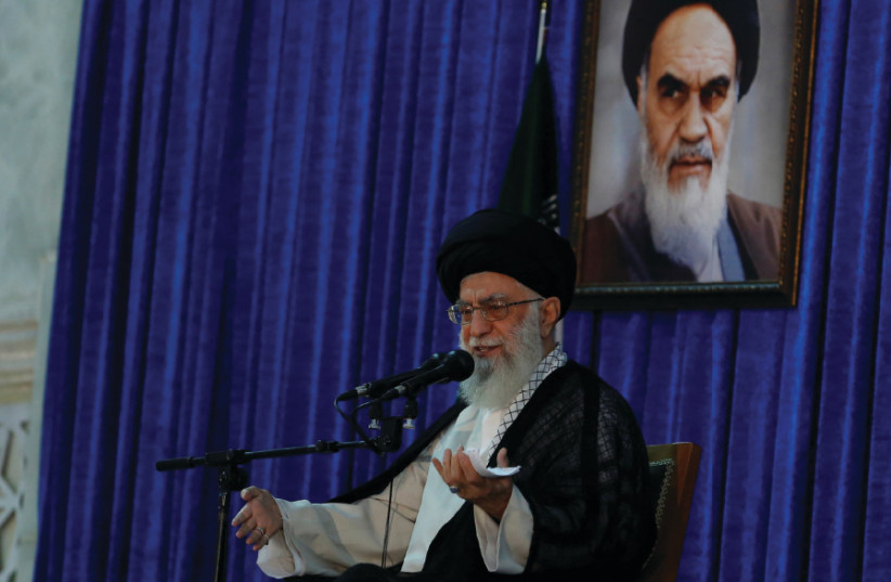 IRANIAN SUPREME Leader Ayatollah Ali Khamenei delivers a speech during a ceremony marking the death anniversary of Islamic Republic founder Ayatollah Ruhollah Khomeini, in Tehran on June 4, 2017 (photo credit: REUTERS)