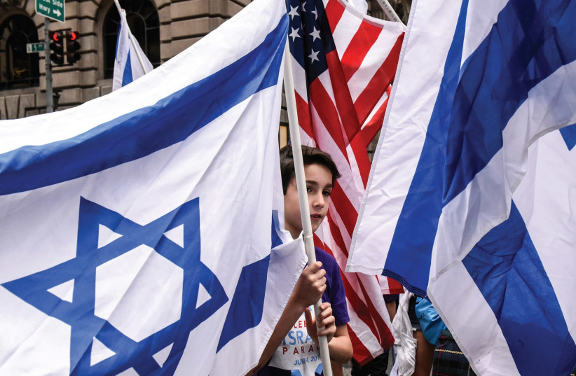 ISRAELI AND American flags at an event in New York City.  (photo credit: REUTERS)
