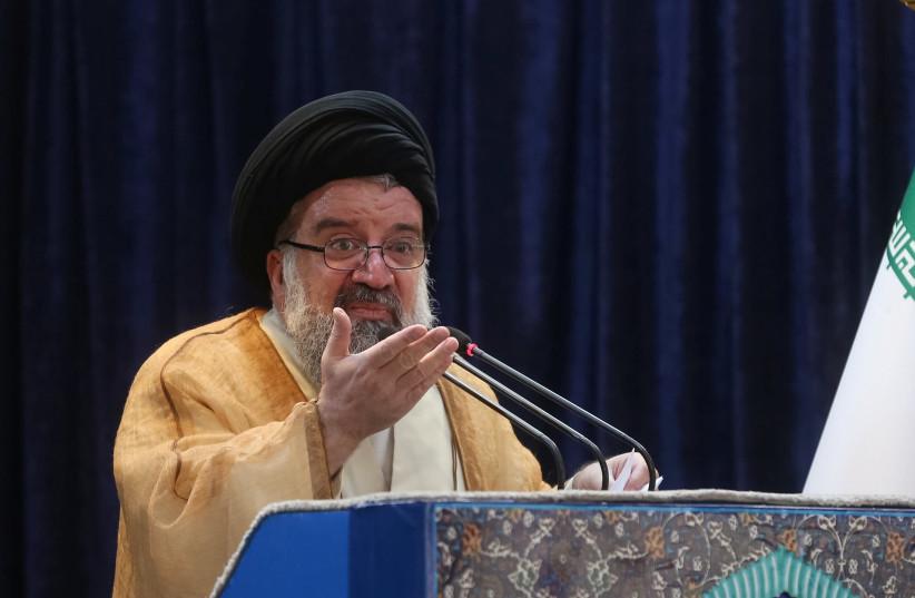Iranian cleric Ayatollah Seyed Ahmad Khatami delivers a sermon during Friday prayers in Tehran, Iran, May 26, 2017. (photo credit: TIMA VIA REUTERS)