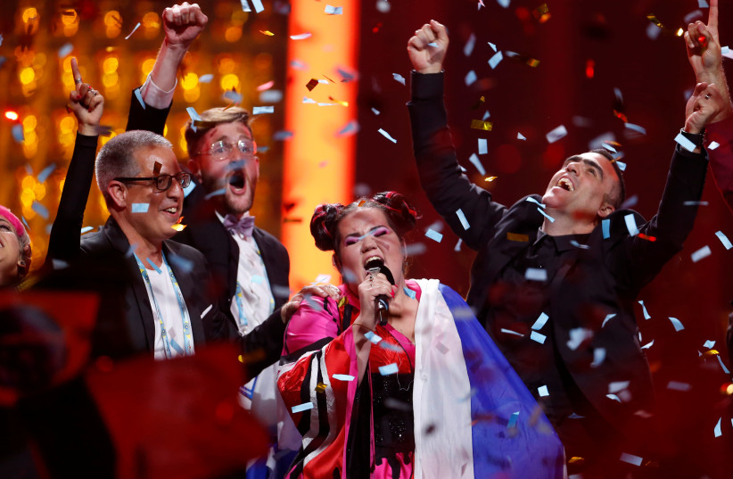 Israel's Netta performs after winning the Grand Final of Eurovision Song Contest 2018 at the Altice Arena hall in Lisbon, Portugal, May 12, 2018. (photo credit: REUTERS/PEDRO NUNES)