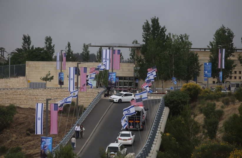 The US embassy in Jerusalem is seen ahead of its dedication, May 13th, 2018. (photo credit: MARC ISRAEL SELLEM/THE JERUSALEM POST)