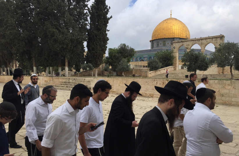 Jewish visitors to the Temple Mount for Jerusalem Day, May 13, 2018 (photo credit: MENACHEM SHLOMO)