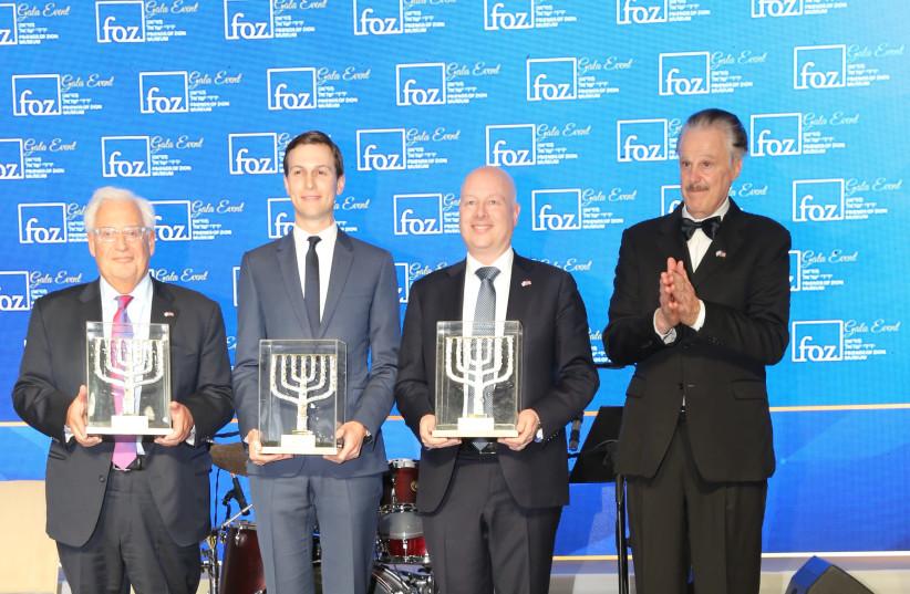 Dr. Mike Evans, head of FOZ, Jason Greenblatt, Jared Kushner and David Friedman.  (photo credit: Courtesy)
