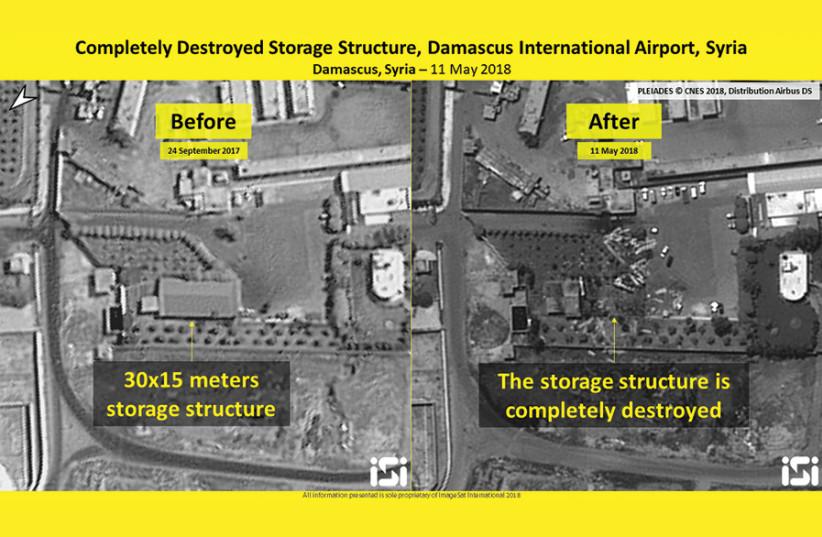 Destroyed storage structure, Damascus International Airport, Syria, 11 May 2018, intelligence analysis provided by ISI (photo credit: IMAGESAT INTERNATIONAL (ISI))
