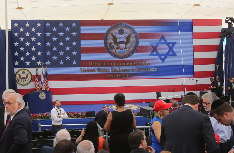 The ceremony celebrating the opening of the US Embassy in Jerusalem (photo credit: MARC ISRAEL SELLEM/THE JERUSALEM POST)