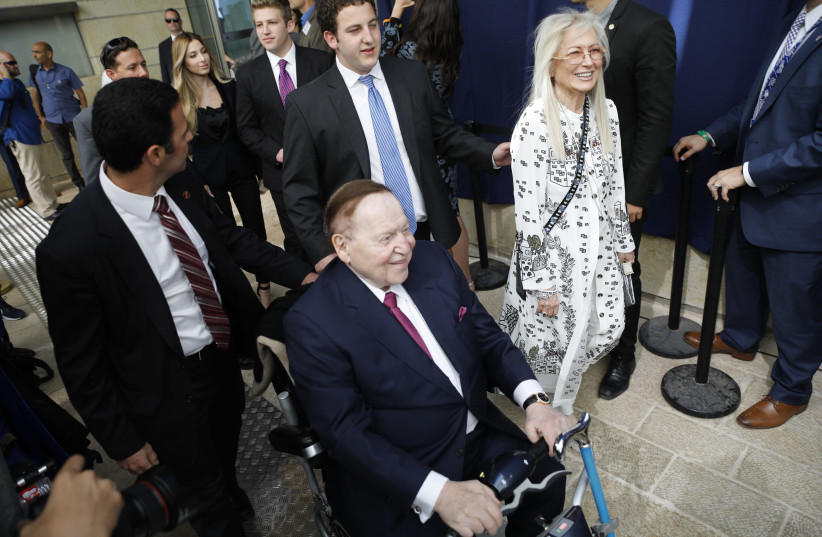Sheldon and Miriam Adelson at the inauguration of the US embassy in Jerusalem, May 14, 2018 (photo credit: MENAHEM KAHANA / AFP)