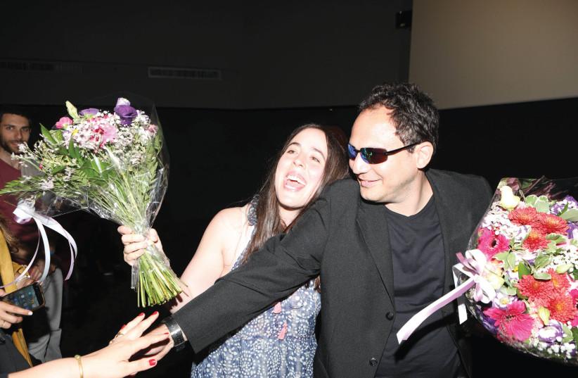 BRANDON POLANSKY and Samantha Elisofon goof around during their visit to Israel to promote their movie 'Keep the Change' (photo credit: OFIR HEN)
