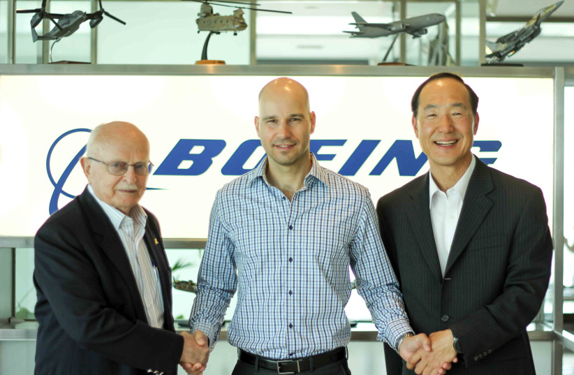 From left to right: President of Boeing Israel, David Ivry, CEO of Assembrix, Lior Polak and Korea-Israel offset program manager at Boeing, JC (photo credit: Courtesy)