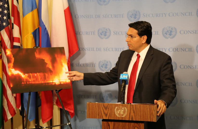 Israeli Ambassador to the UN Danny Danon speaks before a UN Security Council meeting, May 15th, 2018. (photo credit: ISRAEL MISSION TO THE UN)