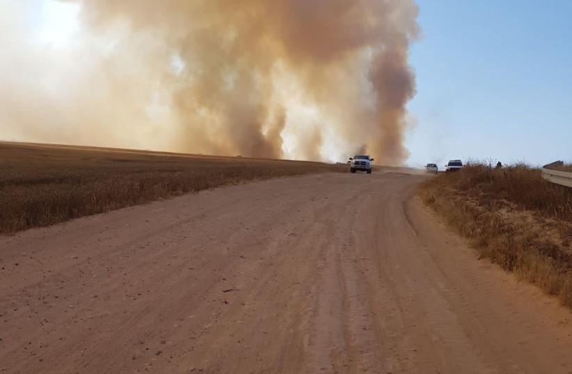 Smoke is seen near the Gaza border. (photo credit: ANNA AHRONHEIM)