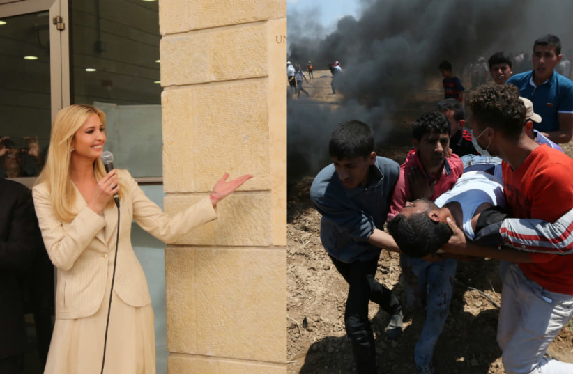 Ivanka Trump at the opening of the US embassy in Jerusalem (L), and a wounded Palestinian is evacuated during a protest at the Israel-Gaza border in the southern Gaza Strip (R). May 14, 2018 (photo credit: REUTERS + MARC ISRAEL SELLEM)