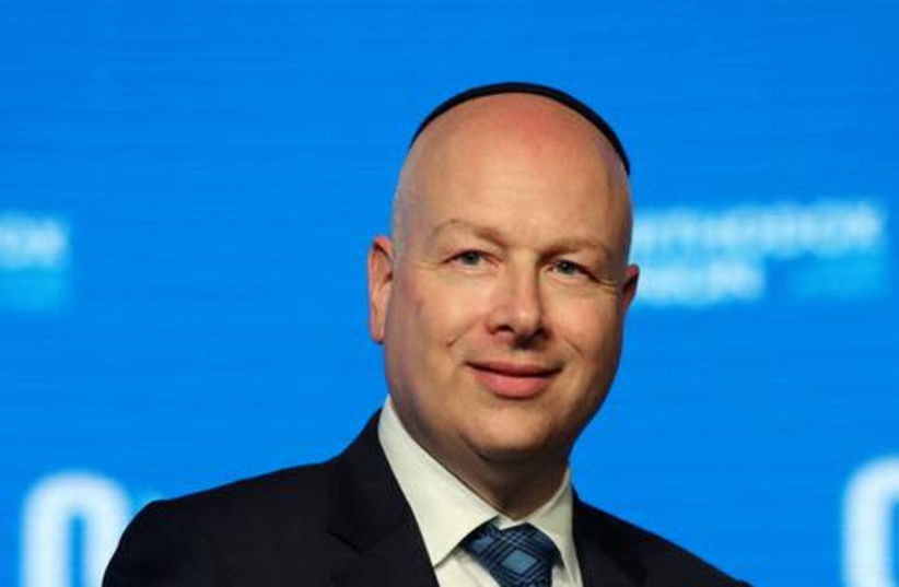 Jason Greenblatt, U.S. President Donald Trump's Middle East envoy, attends a reception hosted by the Orthodox Union in Jerusalem ahead of the opening of the new U.S. embassy in Jerusalem, May 14, 2018 (photo credit: AMMAR AWAD/REUTERS)
