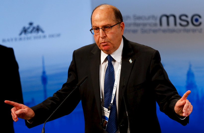 Former Israeli Defence Minister Moshe Yaalon speaks at the Munich Security Conference in Munich, Germany, February 14, 2016 (photo credit: REUTERS)