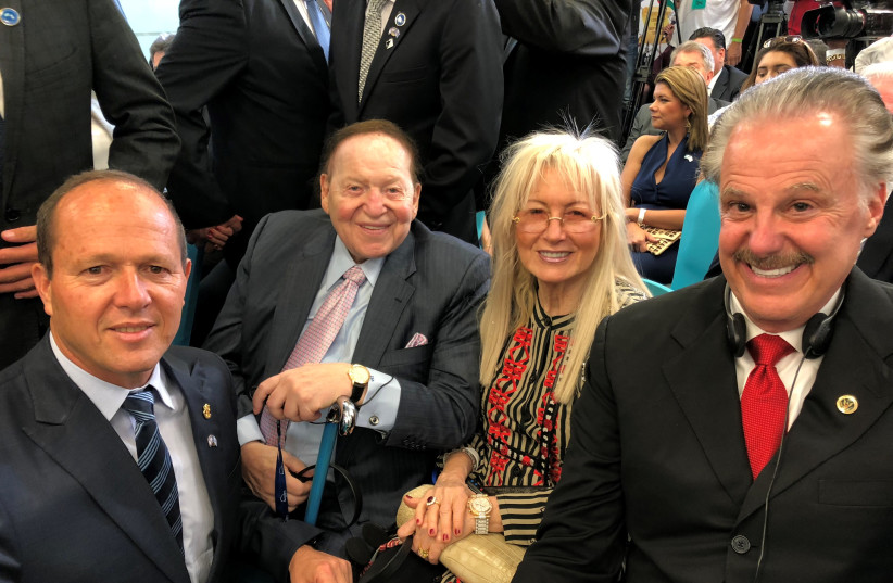 From right: Dr. Mike Evans, Miriam and Sheldon Adelson, and Nir Barkat. (photo credit: COURTESY FRIENDS OF ZION)