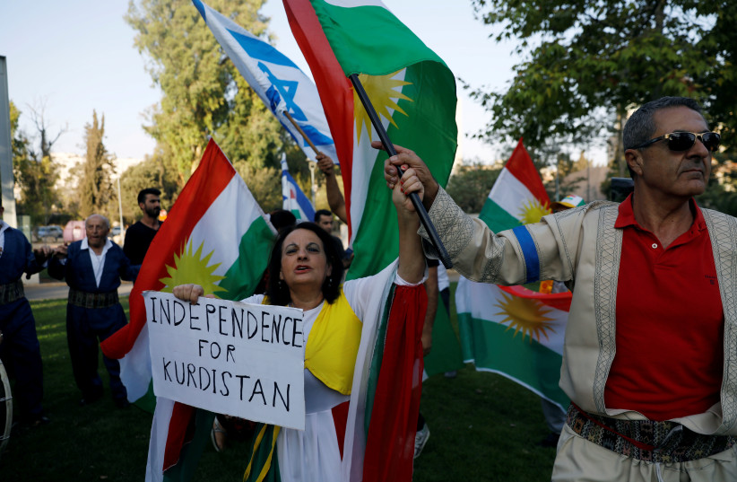 Israelis from Kurdish origin take part in a rally in support of the Kurdish referendum outside the American consulate in Jerusalem September 24, 2017 (photo credit: RONEN ZVULUN / REUTERS)