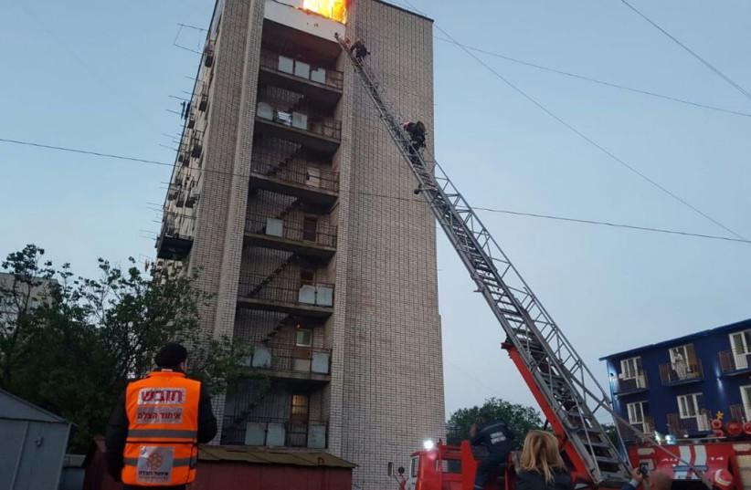 Fire near the grave of Rebbe Nachman of Breslov Uman Ukraine (photo credit: UNITED HATZALAH MEDIA DEPARTMENT)