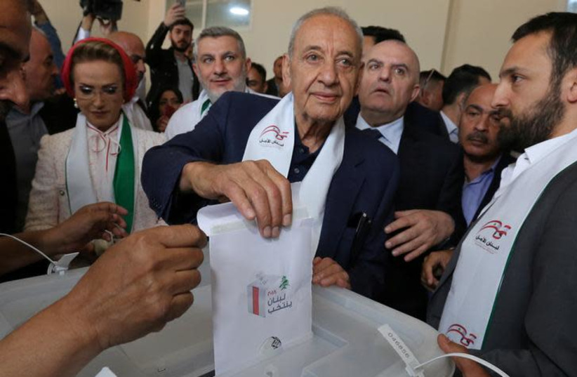 Lebanese Parliament Speaker and candidate for parliamentary election Nabih Berri casts his vote at a polling station during the parliamentary election in Tibnin, South Lebanon, May 6, 2018. (photo credit: AZIZ TAHER/REUTERS)
