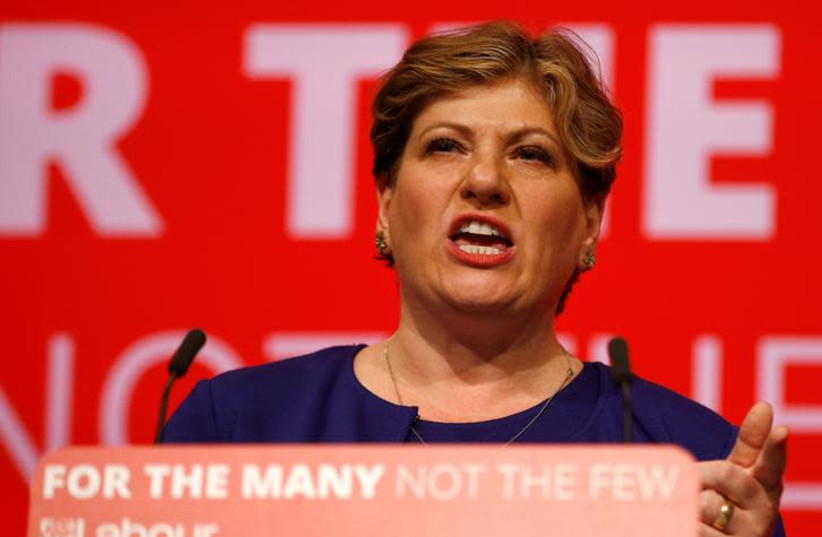 Emily Thornberry speaks at the Labour party Conference in Brighton, Britain, September 25, 2017 (photo credit: REUTERS/PETER NICHOLLS)