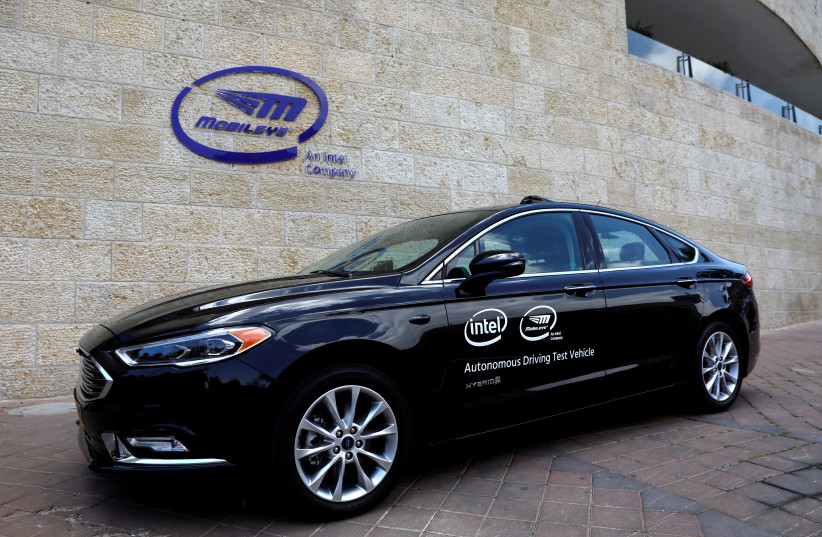 A general view of a Mobileye autonomous driving test vehicle, at the Mobileye headquarters in Jerusalem (photo credit: REUTERS/Ronen Zvulun)