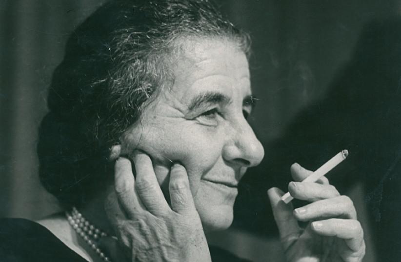 GOLDA MEIR takes a cigarette break, 1973 (photo credit: CAMERA PRESS LONDON)