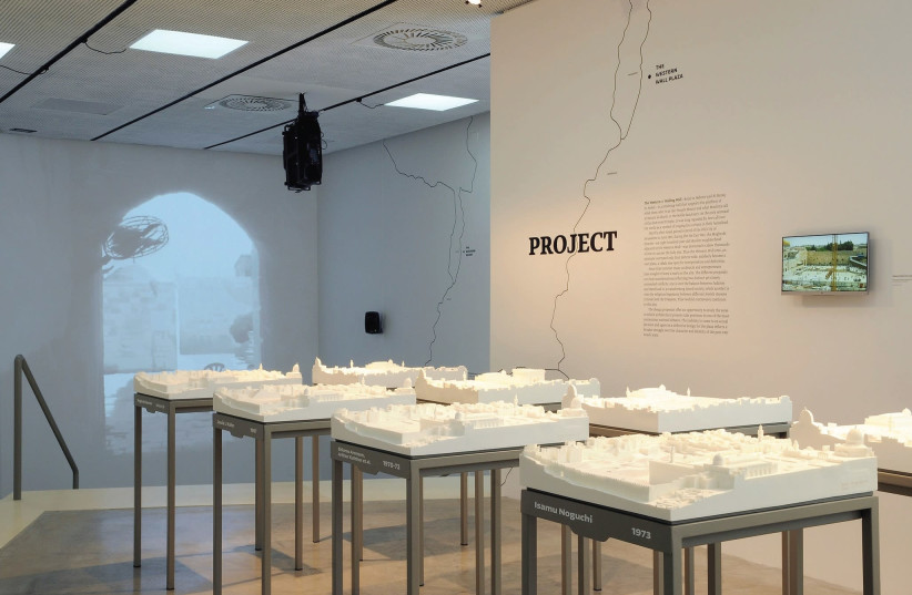 Various Western Wall plaza models (left) and the Holy Sepulchre model are featured at the International Architecture Exhibition in Venice, Italy (photo credit: CLAUDIO FRANZINI/ISRAELI PAVILION)