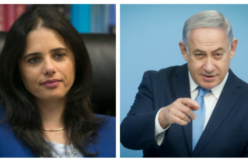 Justice Minister Ayelet Shaked (L) and Prime Minister Benjamin Netanyahu (R) (photo credit: MARC ISRAEL SELLEM/THE JERUSALEM POST)