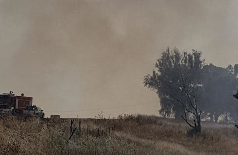 Fires near the border with Gaza (photo credit: TPS/ NOGA BNODIZ - SIHO)