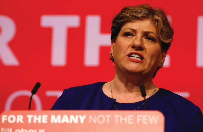 Britain's shadow foreign secretary Emily Thornberry speaks at the Labour Party Conference in Brighton last year (photo credit: PETER NICHOLLS/REUTERS)