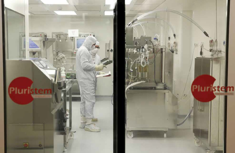 Biologists work in a laboratory at Pluristem Therapeutics Inc. in Haifa (photo credit: BAZ RATNER/REUTERS)
