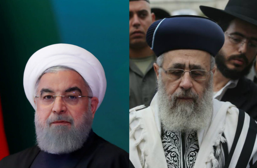 Hassan Rouhani (L) and Yitzhak Yossef (R) (photo credit: MARC SELLEM + REUTERS)