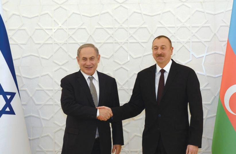Azerbaijan President Ilham Aliyev hosts Prime Minister Benjamin Netanyahu at the Zagulba Palace in Baku on December 13, 2016 (photo credit: HAIM ZACH/GPO)