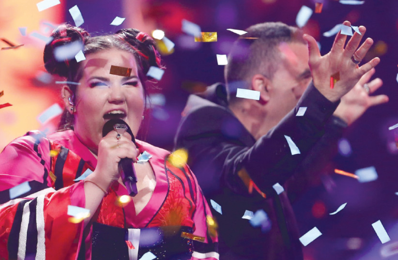 Netta Barzilai performs after winning the Grand Final of Eurovision Song Contest 2018 at the Altice Arena hall in Lisbon, Portugal, on May 12 (photo credit: PEDRO NUNES/REUTERS)
