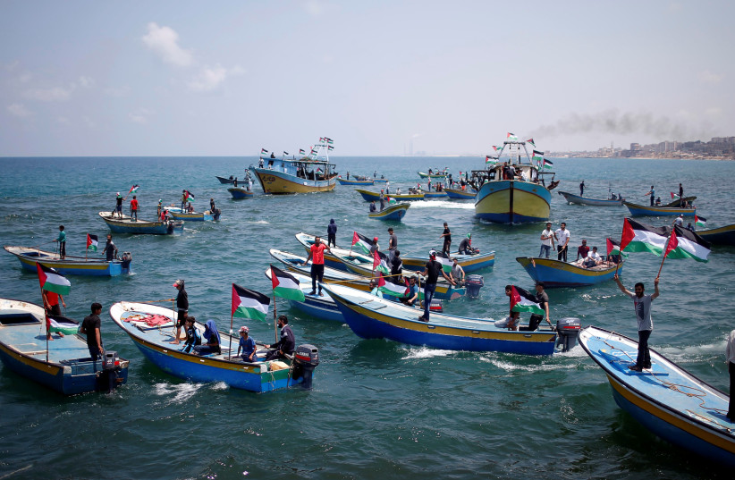 A boat aiming to break Israel's maritime blockade on Gaza at sea, May 29, 2018 (photo credit: REUTERS/MOHAMMED SALEM)