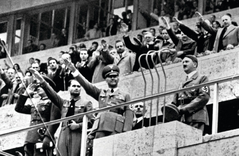 ADOLF HITLER at the opening of the Olympic Games in 1936 (photo credit: ACTION IMAGES/TOPHAM)