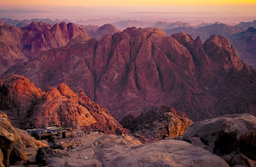 Mount Sinai [pictured today at the summit] (photo credit: Wikimedia Commons)