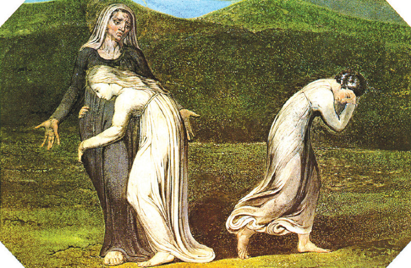 NAOMI ENTREATING [famous convert] Ruth and Orpah to return to the land of Moab, by William Blake, 1795 (photo credit: Wikimedia Commons)