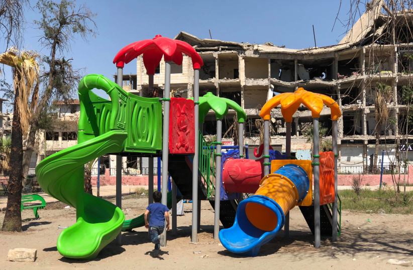 One of the playgrounds in Raqqa donated by the Free Burma Rangers. (photo credit: Courtesy)