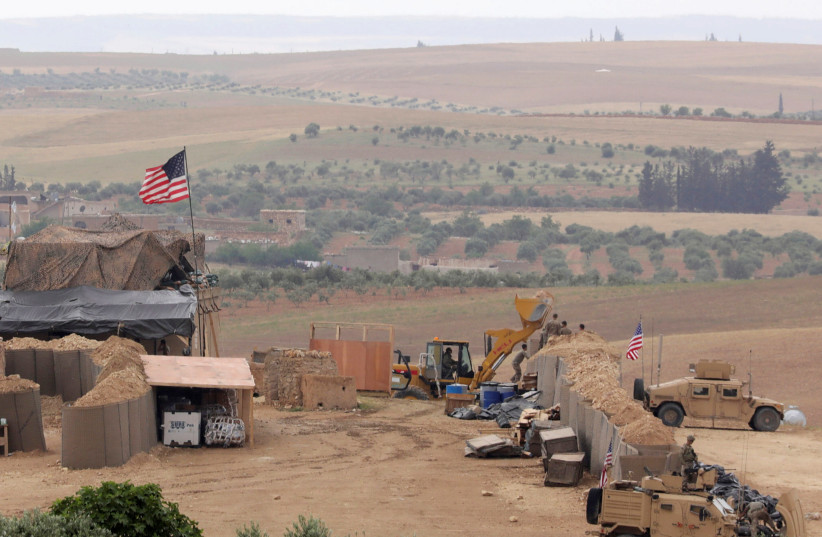U.S. forces set up a new base in Manbij, Syria May 8, 2018. Picture Taken May 8, 2018 (photo credit: RODI SAID / REUTERS)