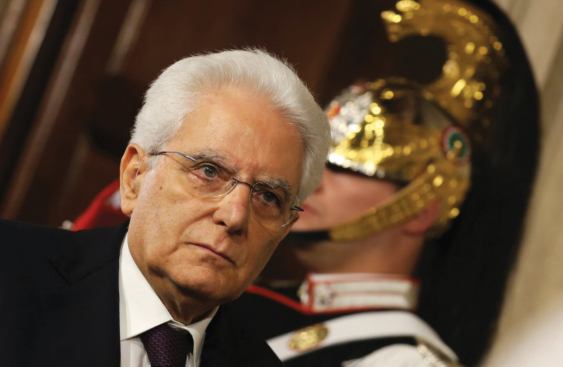 TALIAN PRESIDENT Sergio Mattarella arrives to meet media after a meeting with Prime Minister-designate Giuseppe Conte at the Quirinal Palace in Rome, May 2018. (photo credit: REUTERS/ALESSANDRO BIANCHI)