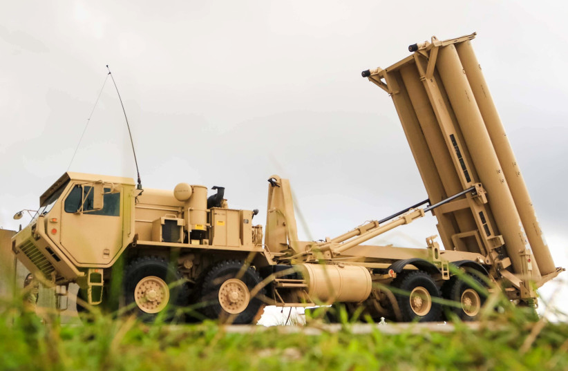 A U.S. Army Terminal High Altitude Area Defense (THAAD) weapon system is seen on Andersen Air Force Base, Guam, October 26, 2017. (photo credit: REUTERS)