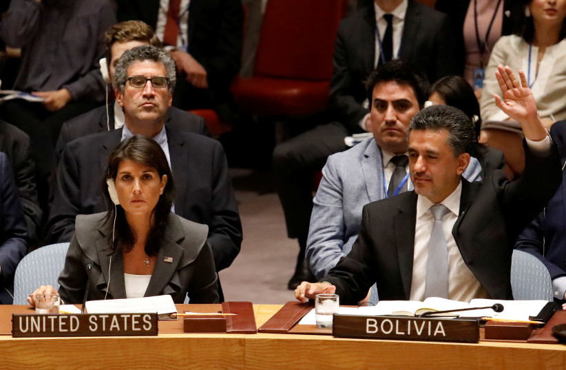 U.S. Ambassador to the United Nations Nikki Haley vetoes a vote as Bolivian Ambassador Sacha Llorenty votes for a Arab-backed resolution for protection of Palestinian civilians (photo credit: SHANNON STAPLETON / REUTERS)