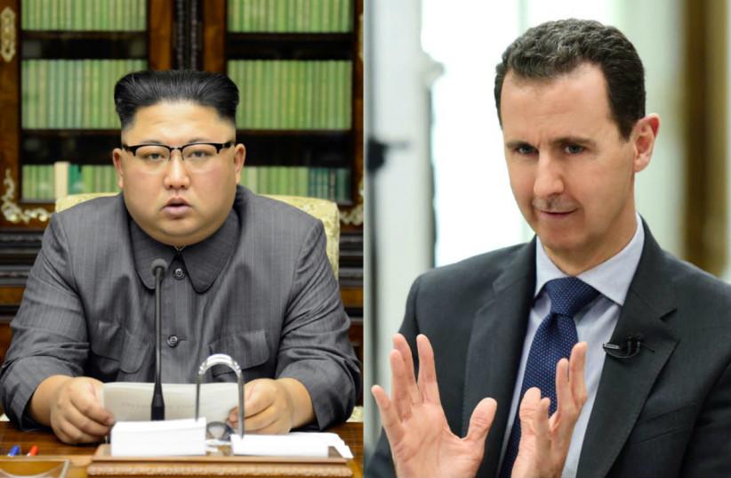 Kim Jong-Un (L) and Bashar Assad (R) (photo credit: REUTERS)