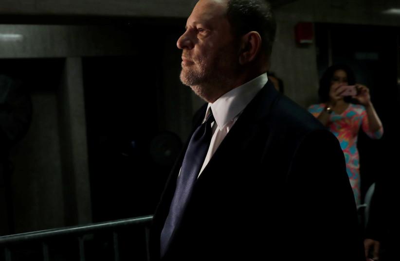 Film producer Harvey Weinstein arrives for his arraignment at Manhattan Criminal Court in New York, U.S., June 5, 2018. (photo credit: SHANNON STAPLETON / REUTERS)